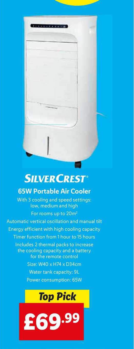 Lidl Silvercrest 65w Portable Air Cooler