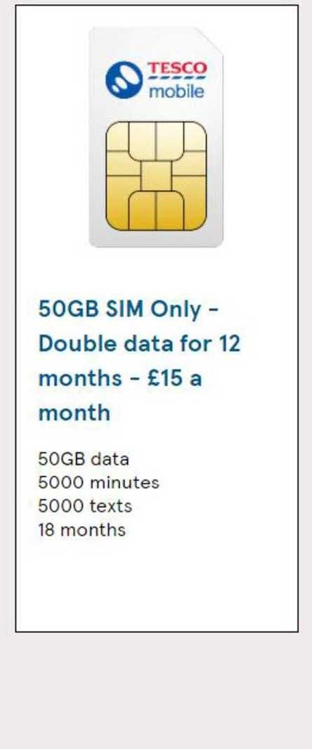 Tesco 50 GB Sim Only - Double Data
