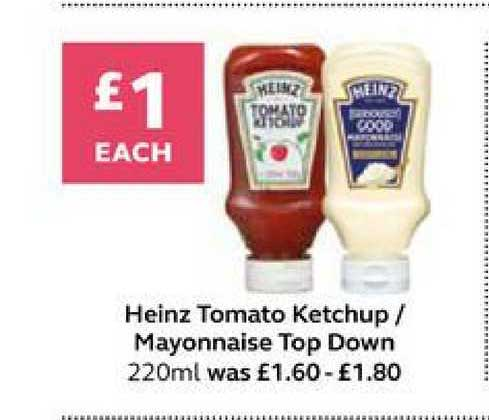 SuperValu Heinz Tomato Ketchup Mayonnaise Top Down