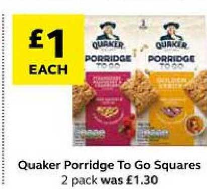 SuperValu Quaker Porridge To Go Squares