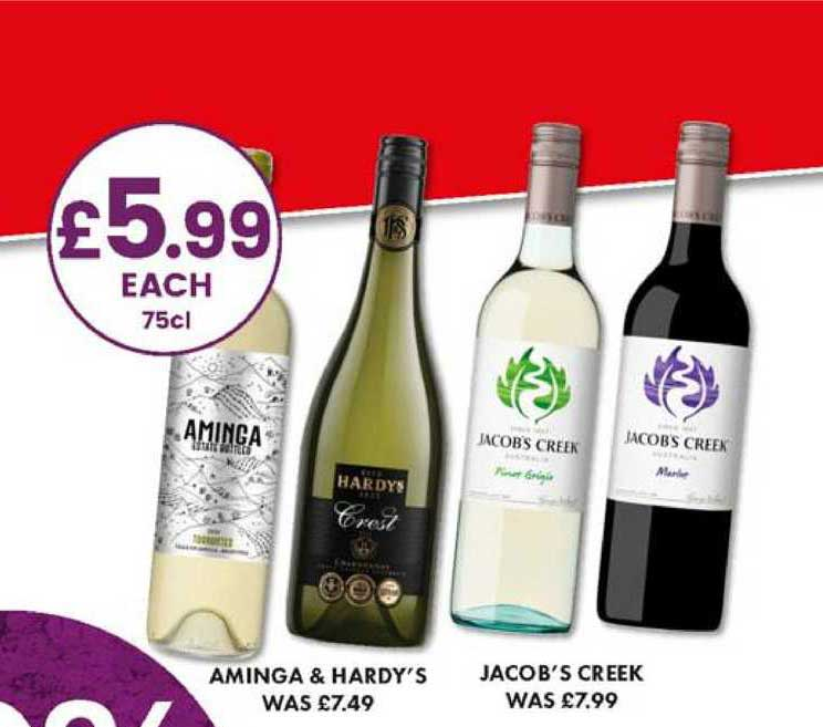 Bargain Booze Aminga & Hardy's , Jacob's Creek