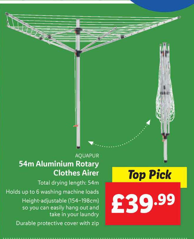 Lidl 54m Aluminium Rotary Clothes Airer
