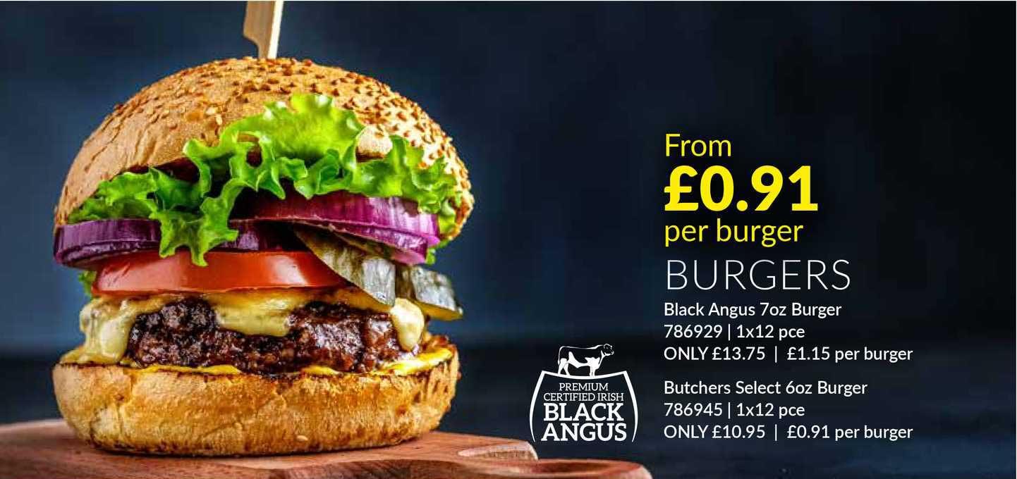 Musgrave MarketPlace Burgers Black Angus 7oz Burger Butchers Select 6oz Burger