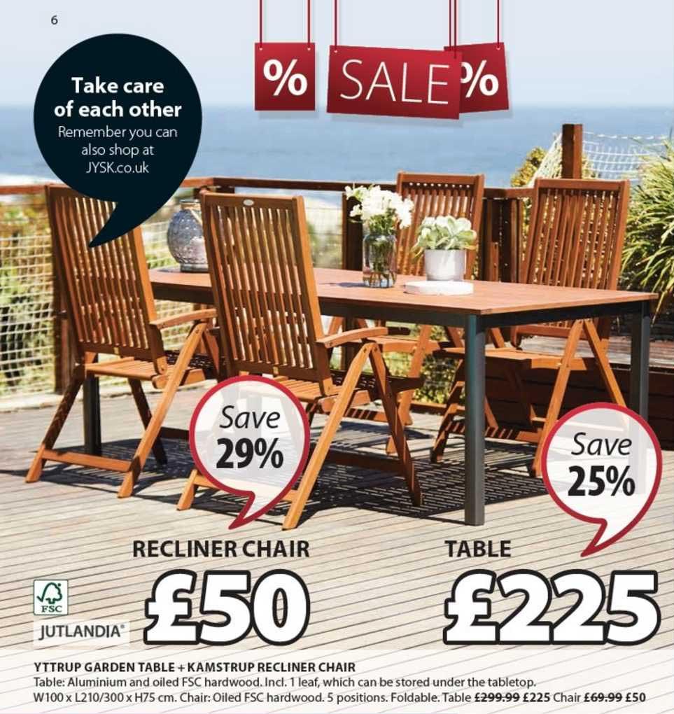 JYSK Yttrup Garden Table + Kamstrup Recliner Chair Jutlandia