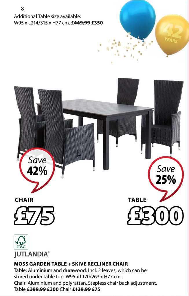 JYSK Jutlandia Moss Garden Table + Skive Recliner Chair