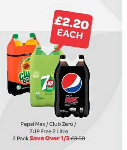 Spar Pepsi Max - Club Zero - 7up Free 2 Litre