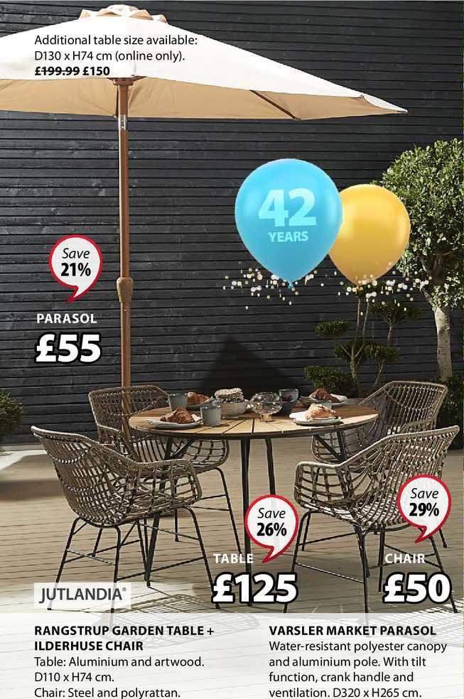 JYSK Rangstrup Garden Table + Ilderhuse Chair , Varsler Market Parasol