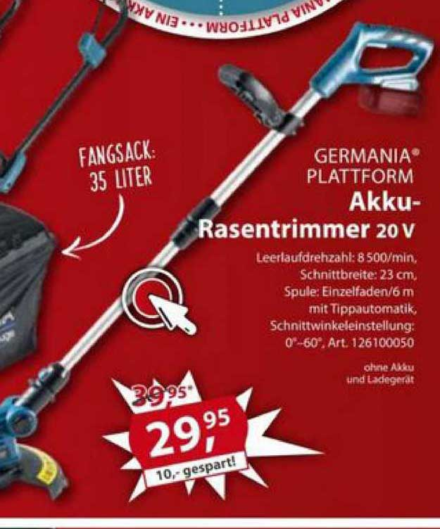 Sonderpreis Baumarkt Germania Plattform Akku-rasentrimmer 20v