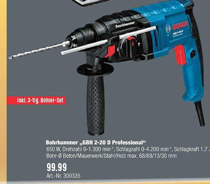 "Hellweg Bohrhammer ""gbh 2-20 D Professional"" Bosch"