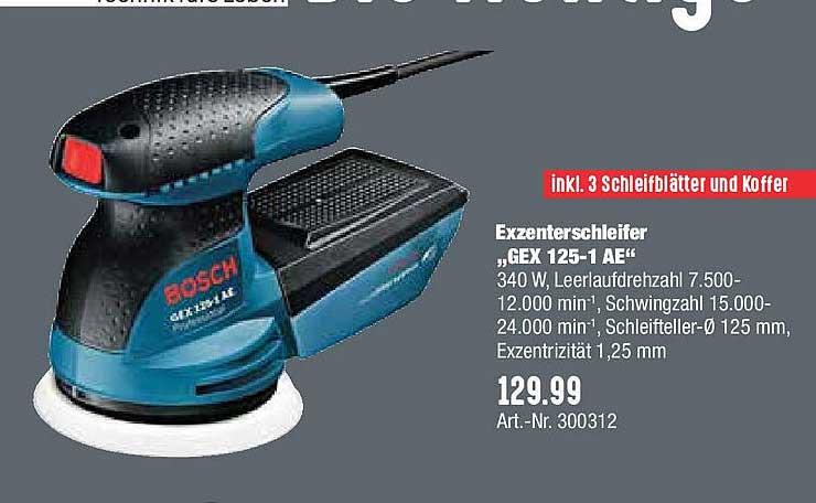 """Hellweg Exzenterschleifer """"gex 125-1 Ae"""" Bosch"""