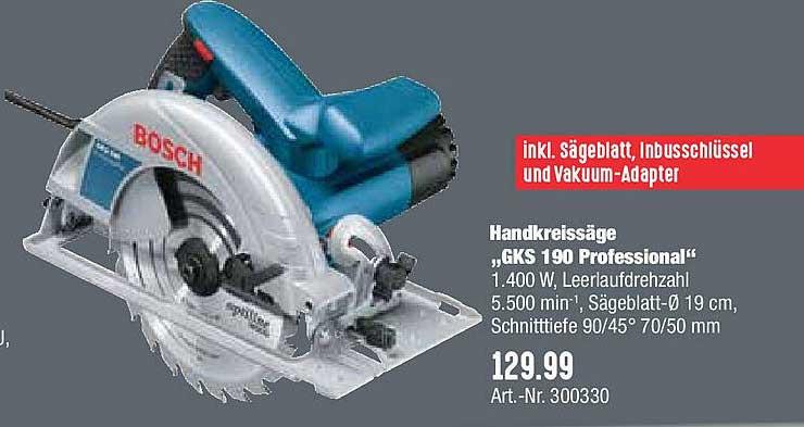 "Hellweg Handkreissäge ""gks 190 Professional"" Bosch"
