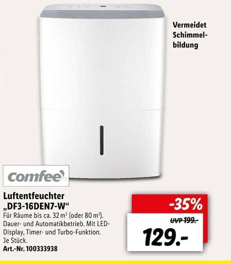 Lidl Comfee Luftentfeuchter Df3-16en7-w