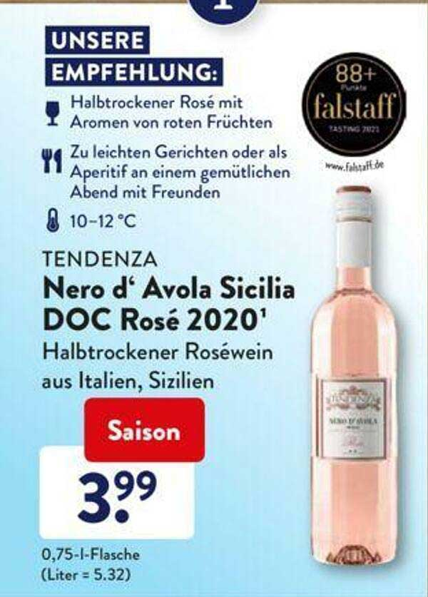 ALDI SÜD Tendenza Nero D' Avola Sicilia Doc Rosé 2020