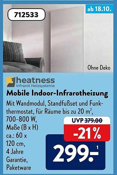 ALDI SÜD Heatness Mobile Indoor-infrarotheizung