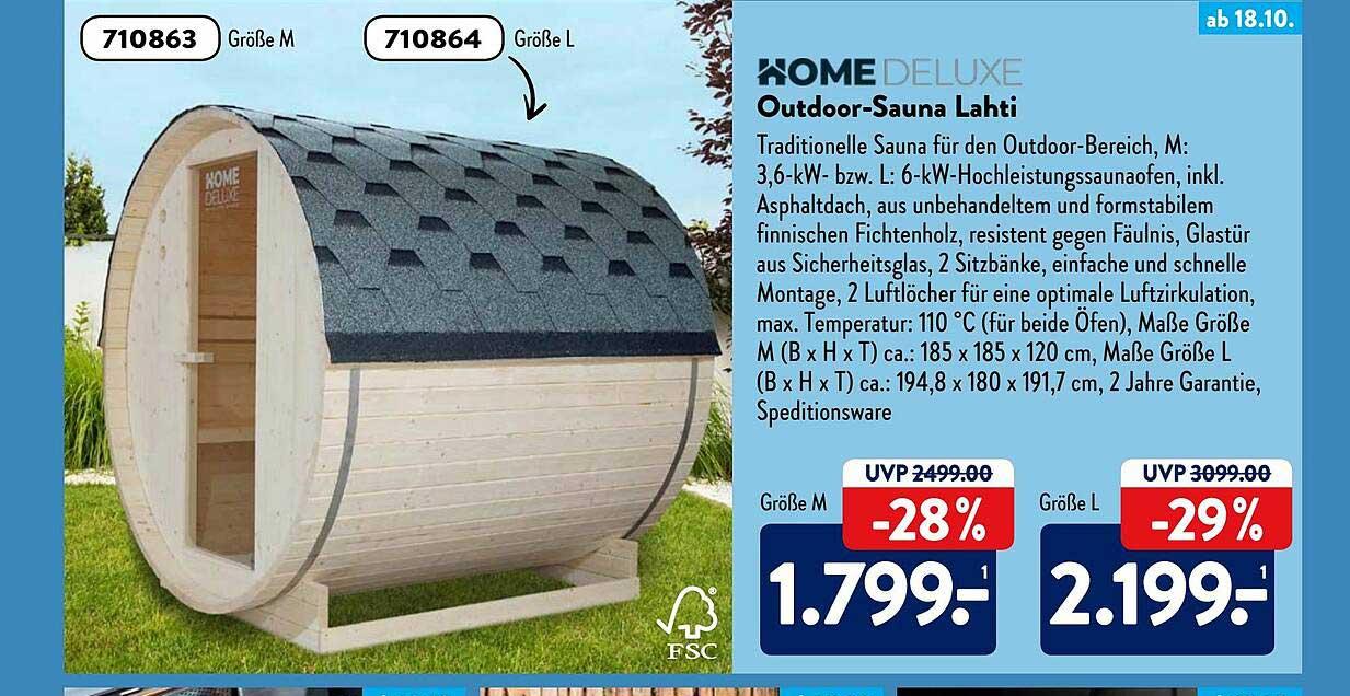 ALDI SÜD Home Deluxe Outdoor-sauna Lahti