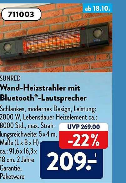 ALDI SÜD Sunred Wand-heizstrahler Mit Bluetooth Lautsprecher