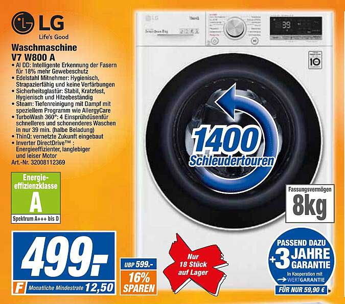 Expert Techno Land Lg Waschmaschine V7w800a