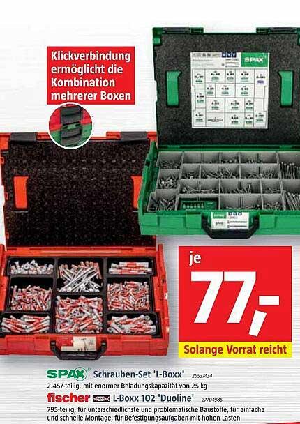 """Bauhaus Spax Schrauben-set """"L-boxx"""" Oder Fischer L-boxx 102 """"duoline"""""""