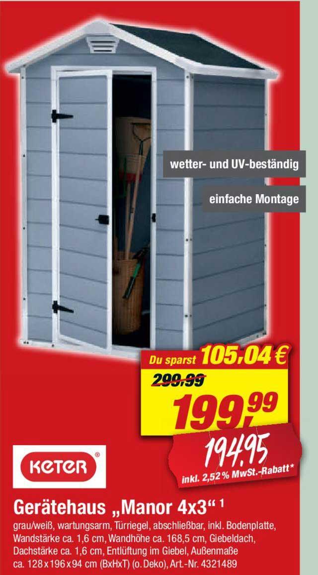 "Toom Baumarkt Keter Gerätehaus ""manor 4x3"""