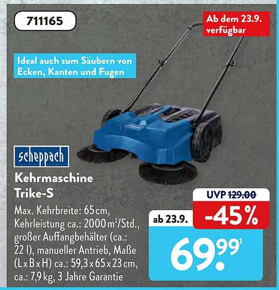 ALDI SÜD Scheppach Kehrmaschine Trike-s