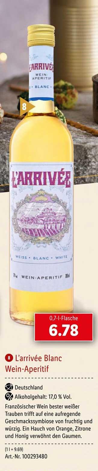 Lidl L'arrivée Blanc Wein Aperitif