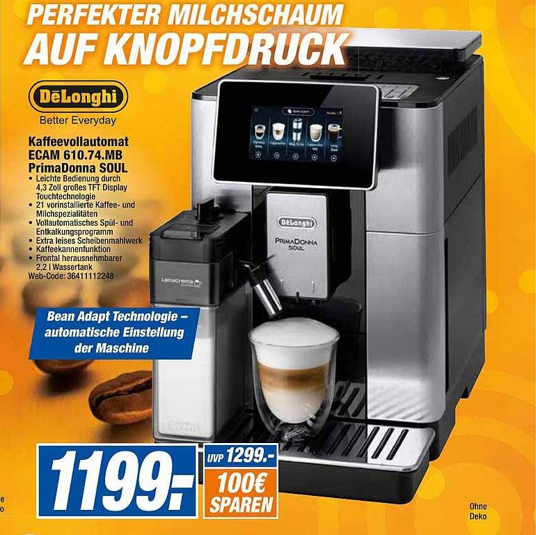 Expert Octomedia Delonghi Kaffeevollautomat Ecam 610.74.mb Primadonna Soul