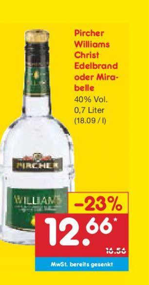 Netto Marken-Discount Pircher Williams Christ Edelbrand Oder Mirabelle