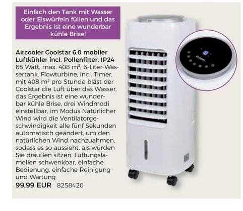 BBM Baumarkt Aircooler Coolstar 6.0 Mobiler Luftkühler Incl. Pollenfilter, IP24