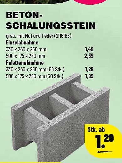 Leitermann Baumarkt Beton Schalungsstein