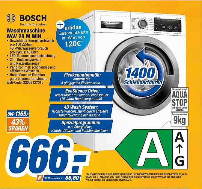 Expert Octomedia Bosch Waschmaschine Wav28mwin
