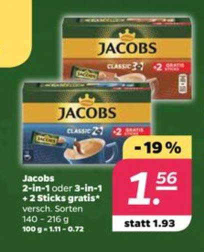 Netto Jacobs 2in1 Oder 3in1 + 2 Sticks Gratis