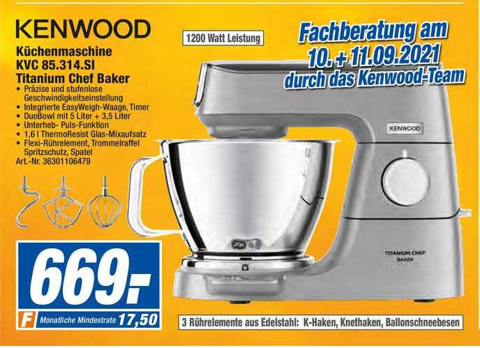 Expert Techno Land Kenwood Küchenmaschine KVC 85.314.SI Titanium Chef Baker