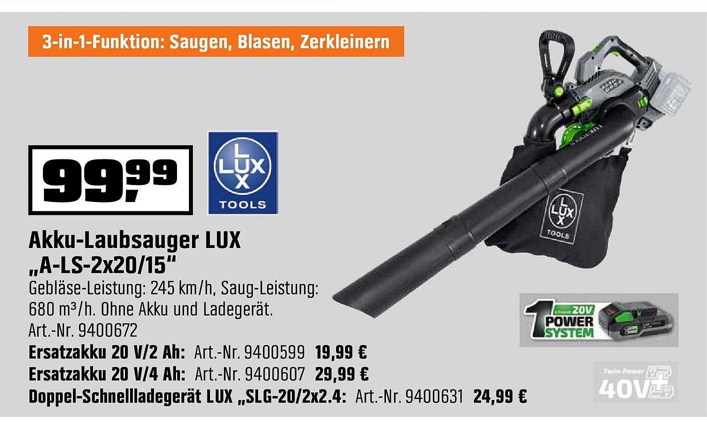 """OBI Akku Laubsauger Lux """"a Ls 2x20 15"""""""