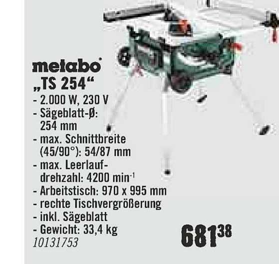 "Hornbach Metabo ""ts 254"""