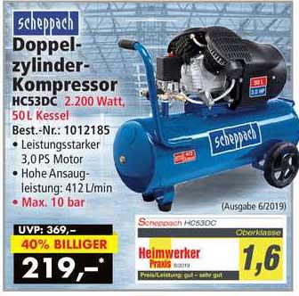 Norma24 Scheppach Doppelzylinder-kompressor Hc53dc