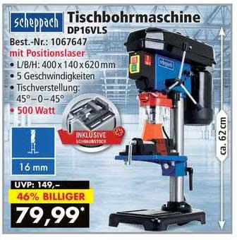 Norma24 Scheppach Tischbohrmaschine Dp16vls