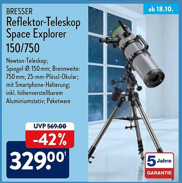 ALDI Nord Bresser Reflektor-teleskop Space Explorer 150-750
