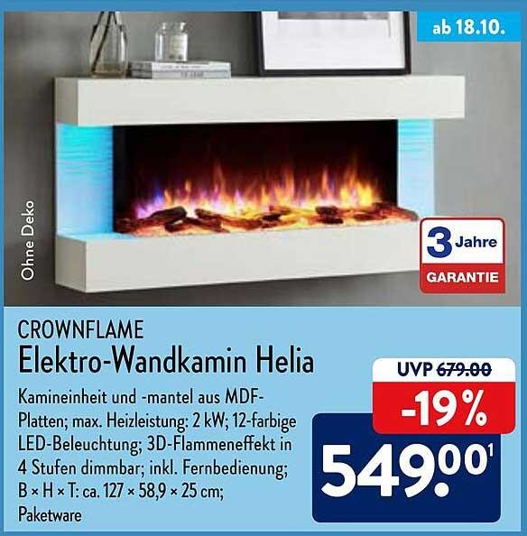 ALDI Nord Crownflame Elektro-wandkamin Helia