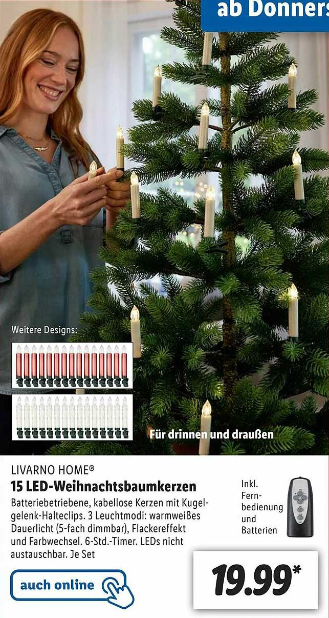 Lidl Livarno Home 15 Led-weihnachtsbaumkerzen