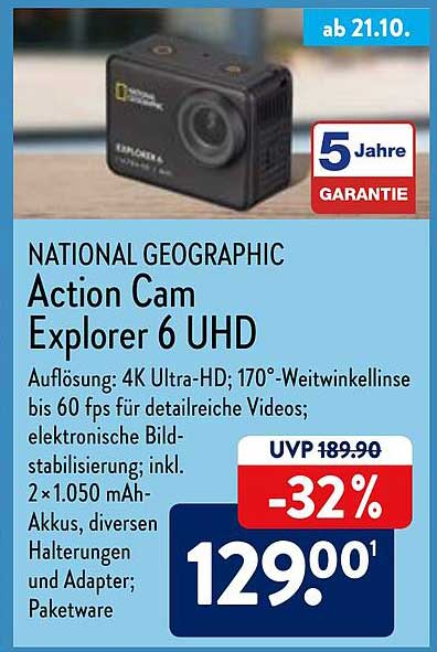 ALDI Nord National Geographic Action Cam Explorer 6 Uhd