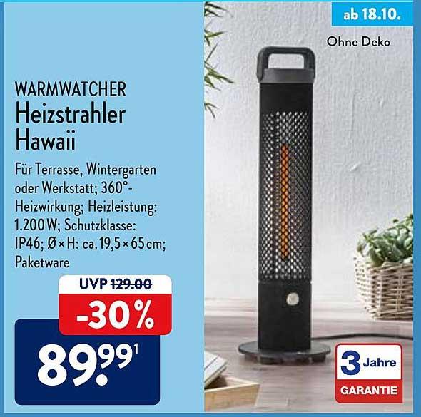 ALDI Nord Warmwatcher Heizstrahler Hawaii