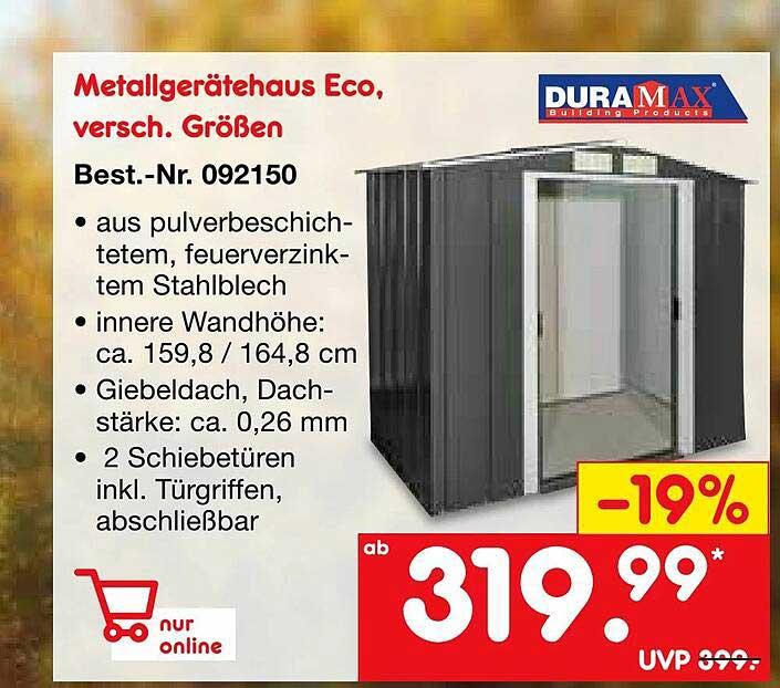 Netto Marken-Discount Duramax Metallgerätehaus Eco