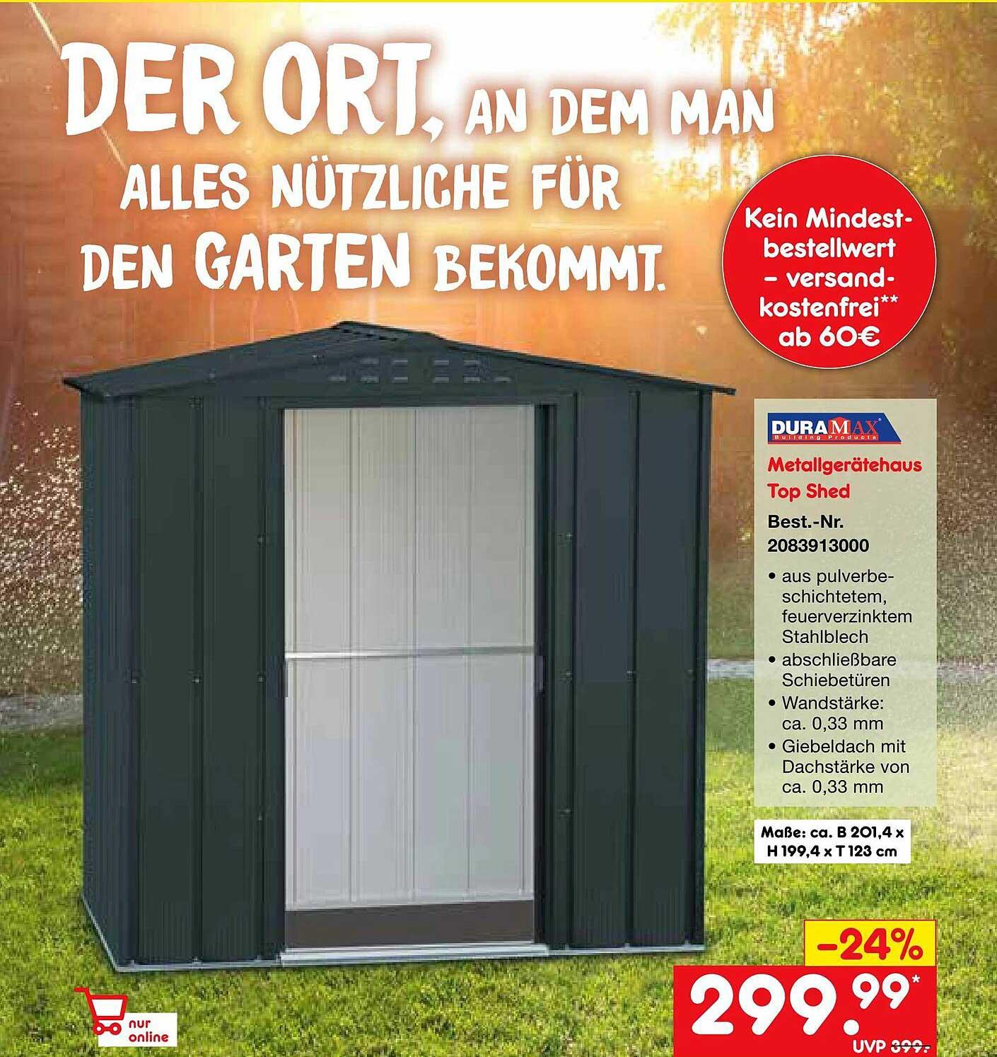 Netto Marken-Discount Duramax Metallgerätehaus Top Shed