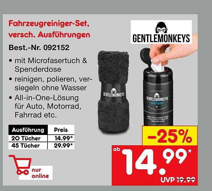 Netto Marken-Discount Gentlemonkeys Fahrzeugreiniger-set