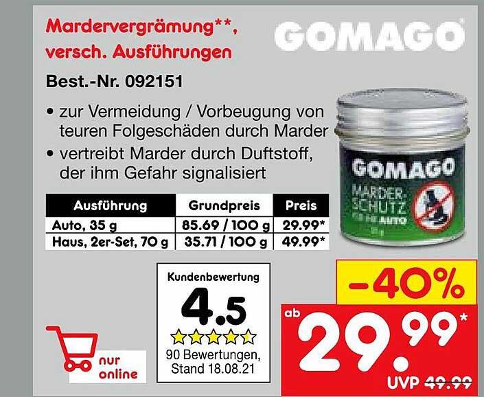 Netto Marken-Discount Gomago Mardervergrämung