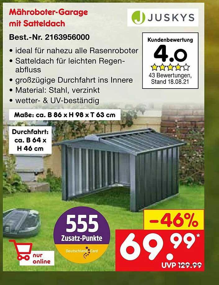 Netto Marken-Discount Juskys Mähroboter-garage Mit Satteldach