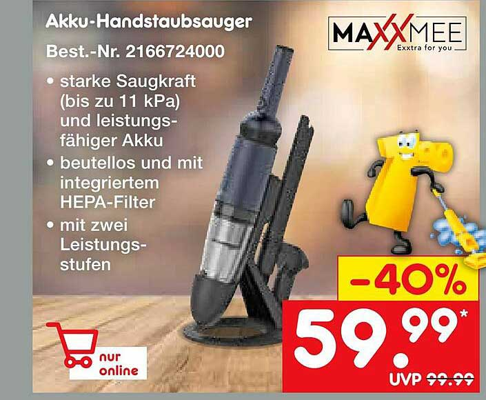 Netto Marken-Discount Maxxmee Akku-handstaubsauger