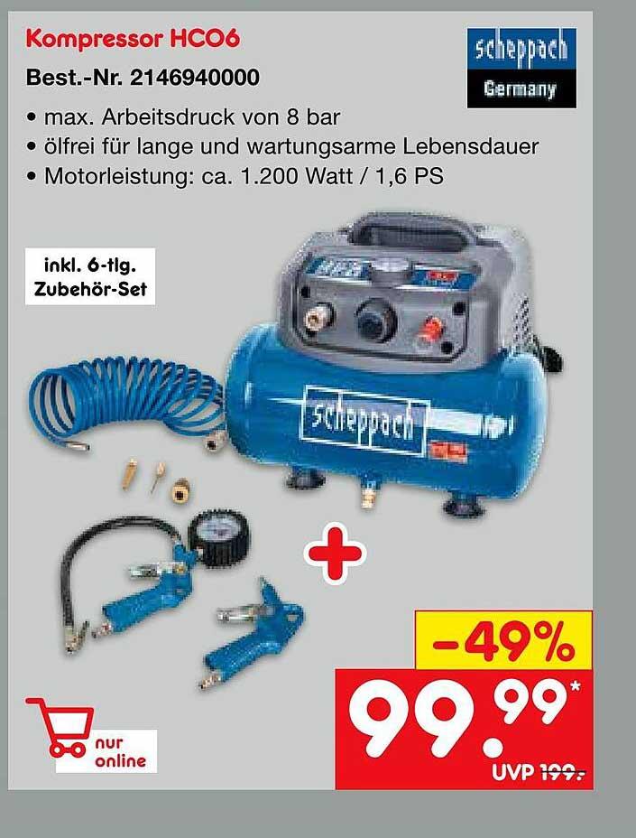 Netto Marken-Discount Scheppach Kompressor Hc06