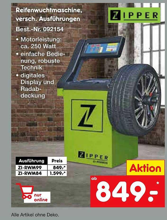 Netto Marken-Discount Zipper Reifenwuchtmmaschine
