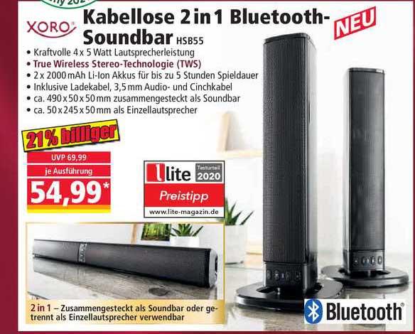 NORMA Xoro Kabellose 2in1 Bluetooth-soundbar